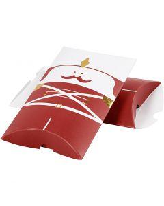 Cadeaudoosjes, notenkraker, afm 14,9x9,4x2,5 cm, 300 gr, goud, rood, wit, 3 stuk/ 1 doos