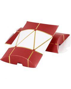 Cadeaudoosjes, trommel, afm 14,9x9,4x2,5 cm, 300 gr, goud, rood, wit, 3 stuk/ 1 doos