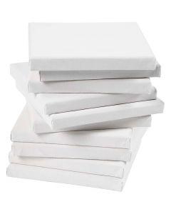 Gespannen canvas, afm 15x15 cm, 280 gr, wit, 80 stuk/ 1 doos