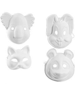 Maskers, H: 17-25 cm, B: 18-24 cm, wit, 4x3 stuk/ 1 doos