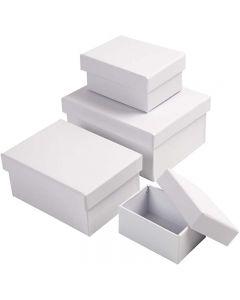Rechthoekige dozen, H: 3,5+4,5+5,5+6,5 cm, afm 8,5x11,5+11x14 cm, wit, 4 stuk/ 1 set