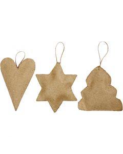 Kerst ornamenten, hart, ster en kerstboom, afm 8-9 cm, 9 stuk/ 1 doos