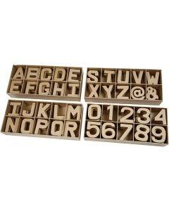 Cijfers & letters van papier-maché, H: 10 cm, dikte 1,7 cm, 160 stuk/ 1 doos