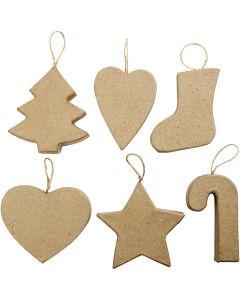 Kersthangers, H: 7+8 cm, 6 stuk/ 1 doos