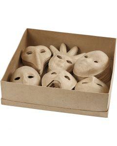 Maskers, H: 12-21 cm, 6x10 stuk/ 1 doos