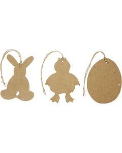 Paas decoraties, konijn, kip en ei, H: 10 cm, 6 stuk/ 1 doos