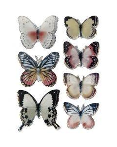 3D stickers, vlinders, afm 26-48 mm, diverse kleuren, 1 set