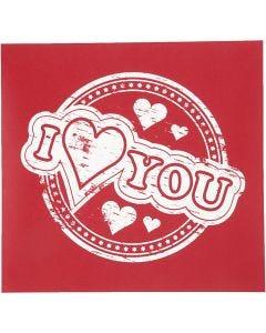 Screen stencil, I love you, 20x22 cm, 1 vel