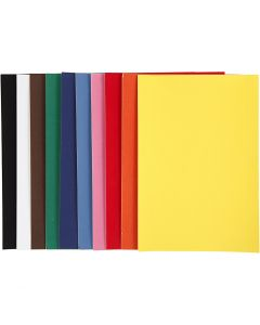 Velour papier, A4, 210x297 mm, 140 gr, diverse kleuren, 10 vel/ 1 doos