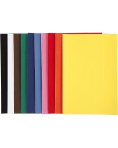 Velour papier, A4, 210x297 mm, 140 gr, diverse kleuren, 10x5 vel/ 1 doos
