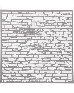 Sjabloon, stenen muur, afm 30,5x30,5 cm, dikte 0,31 mm, 1 vel