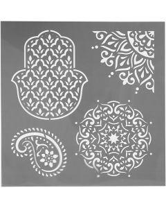 Sjabloon, etnische motieven, afm 30,5x30,5 cm, dikte 0,31 mm, 1 vel