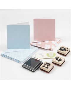 Baby kaarten set, lichtblauw, lichtrood, 1 set