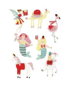 3D stickers, flamingo, lama zeemeermin, H: 50-60 mm, B: 30-45 mm, 7 stuk/ 1 doos