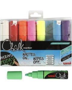 Chalk Marker, lijndikte 8 mm, diverse kleuren, 8 stuk/ 1 doos