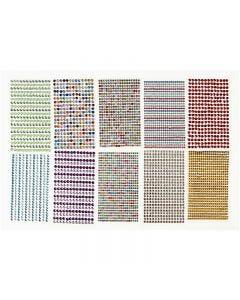 Stick-on strasstenen, d: 4-6 mm, 16x9,5 cm, diverse kleuren, 10 vel/ 1 doos