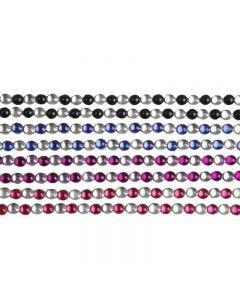 Strasstenen stickers, L: 15 cm, B: 4 mm, zwart, blauw, paars, rood, 8 vel/ 1 doos