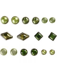 Deco brads, afm 8-18 mm, groen, 16 stuk/ 1 doos