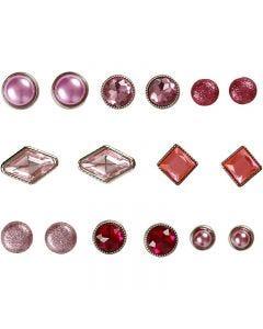 Deco brads, afm 8-18 mm, roze, 16 stuk/ 1 doos
