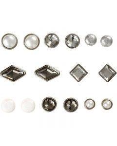 Deco brads, afm 8-18 mm, wit, 16 stuk/ 1 doos