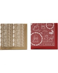 Deco folie en transfervel, Traditionele kerst, 15x15 cm, goud, rood, 2x2 vel/ 1 doos