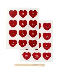 Rub-on Sticker , advent cijfers, H: 32 mm, B: 28 mm, 12,2x15,3 cm, rood, 1 doos