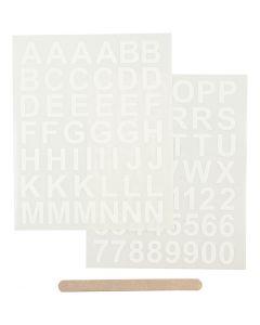 Rub-on Sticker , letters en cijfers, 12,2x15,3 cm, wit, 1 doos