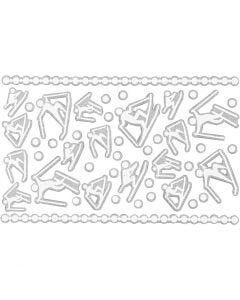 Foam stickers, skieërs, 9x14 cm, afm 5-30 mm, wit, 1 vel