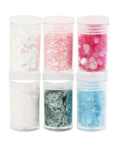 Glitter en pailletten, pastelkleuren, 6x5 gr/ 1 doos