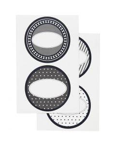 Stickers, d: 4 cm, 9x14 cm, 4 div vellen/ 1 doos