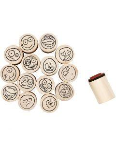 Deco Art Stempels, smiley, H: 26 mm, d: 20 mm, 15 stuk/ 1 doos