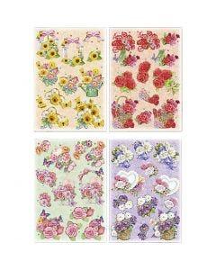 3D vellen, bloemen, 21x30 cm, 4 vel/ 1 doos