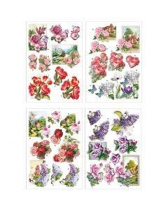 3D vellen, bloemen en vlinders, 21x30 cm, 4 vel/ 1 doos