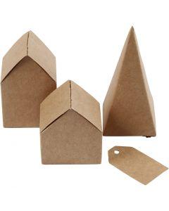Huizen en bomen, H: 5,7-10 cm cm, 1 set