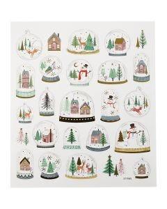 Stickers, sneeuwbollen, 15x16,5 cm, 1 vel