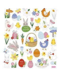 Stickers, paasmix, 15x16,5 cm, 1 vel