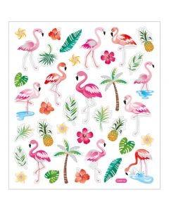 Stickers, flamingo, 15x16,5 cm, 1 vel