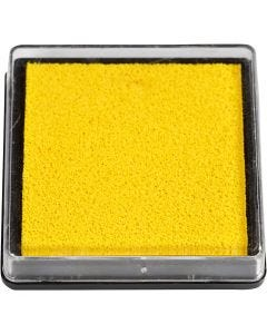 Inktkussen, afm 40x40 mm, geel, 1 stuk