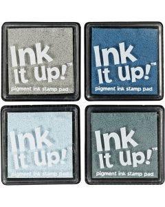 Inktkussens, afm 40x40 mm, blauw/grijs harmonie, 4 stuk/ 1 doos