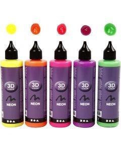 3D liner, neon kleuren, 5x100 ml/ 1 doos