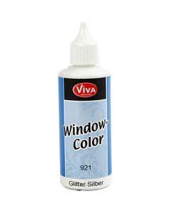 Window Color, glitter zilver, 80 ml/ 1 fles