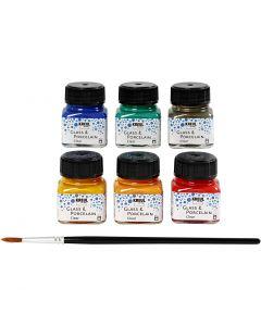 Glas- en porseleinverf, diverse kleuren, 6x20 ml/ 1 doos