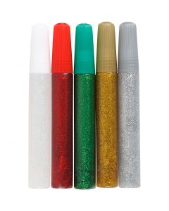 Glitterlijm, diverse kleuren, 5x10 ml/ 1 doos