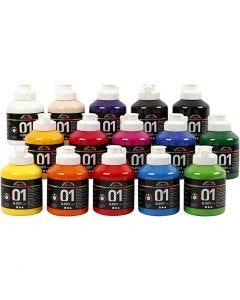 A-Color acrylverf, glossy, diverse kleuren, 15x500 ml/ 1 karton