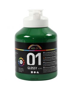 A-Color acrylverf, glossy, donkergroen, 500 ml/ 1 fles
