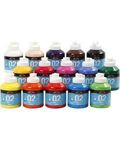A-Color acrylverf, matt, diverse kleuren, 15x500 ml/ 1 karton