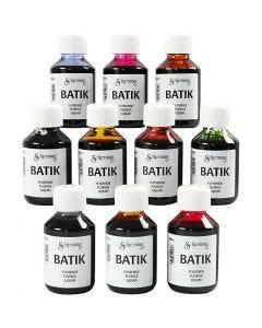Batikverf, diverse kleuren, 10x100 ml/ 1 doos