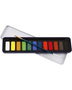 Aquarelverf set, afm 12x30 mm, 12 kleur/ 1 doos