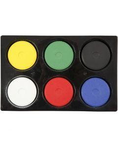 Waterverf, H: 16 mm, d: 44 mm, primair kleuren, 1 set