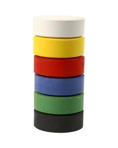 Waterverf, H: 16 mm, d: 44 mm, primair kleuren, 6 stuk/ 1 doos